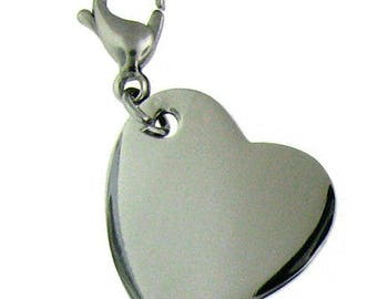 Heart Charm, stainless steel, Free engraving