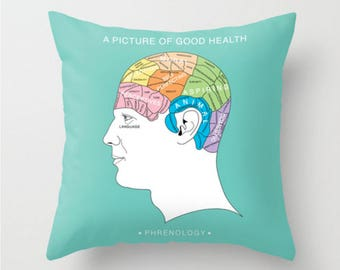 Decorative Pillow, Phrenology Cushion, Turquoise Throw Pillow, Words Cushion, Brain Decor Cushion, Man Head Pillow, 18x18 20x20, Mr and Mrs