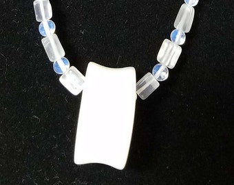 Moonstone and Opalite Necklace with Opalite Pendant