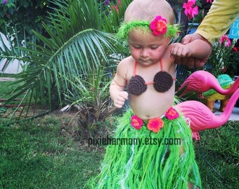 Baby Girl or Toddler Hawaiian HULA Grass Skirt Coconut Bra and Flower Headband - Made to Order Please PLAN Ahead