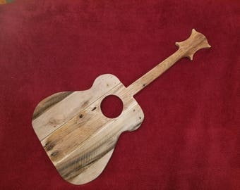 Reclaimed Pallet Wood Guitar Wall Art