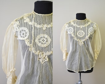 1900s Sheer Net and Lace Blouse