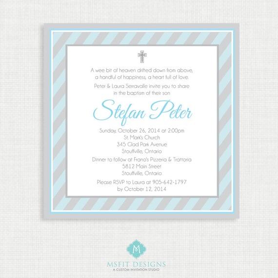Printable Baptism Invitation- Boys Baptism Invitation - Strip Baby Invitations - Dedication, First Communion, Confirmation, Christening
