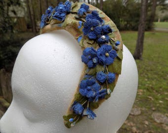Vintage 30's 40's Blue Floral Headpiece Lady's Easter Church Hat