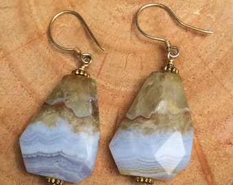 Blue lace and citrine faceted agate earrings on vermeil