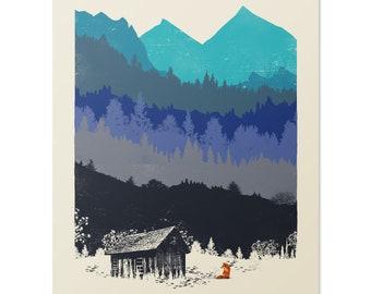 Hunting Season Art Print, Wilderness Nature Home Decor, 8 x 10 inches