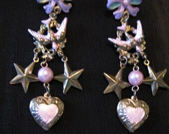 vintage sale Valentine Jewelry, earrings long dangle, dangling charms ear rings, hearts birds stars jewelry