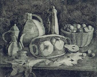 Kitchen Still Life - Soviet Vintage Etching - Original