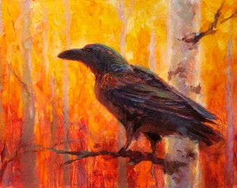 Crow Art Print - Bird Perched in Vibrant And Warm Colorful Autumn Birch Forest