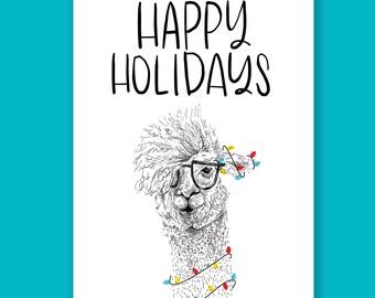 Happy Holidays Llama | Holiday Card