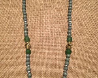 Gray & Green Oyster Shell Necklace