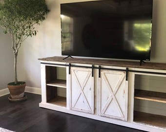 Awesome Sliding Barn Door Distressed Farmhouse Media Console, TV Stand,  Entertainment Center
