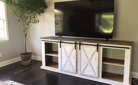 sliding barn door distressed farmhouse media console tv. Black Bedroom Furniture Sets. Home Design Ideas