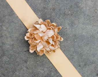 Champagne Satin Ribbon Belt Blush Flower Handmade Bridal Sash Wedding Bride Dress Soft Pink Romantic 190