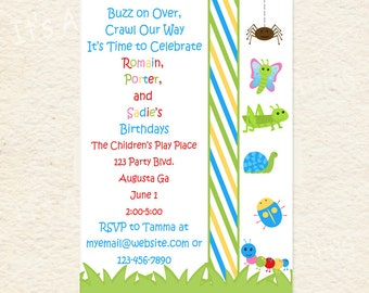 Siblings Joint Party Bug Bash Printable Invitations