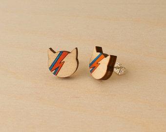 David Bowie studs, Ziggy Stardust cat, Aladdin Sane earrings, Bowie fan gift, Minimal studs, Cat lover earrings, David Bowie jewelry, Cat