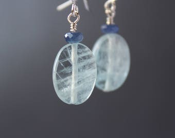 Aquamarine Earrings with Sapphire, Aquamarine Earrings, Gemstone Dangling Earrings, March Birthstone, Sapphire Earrings