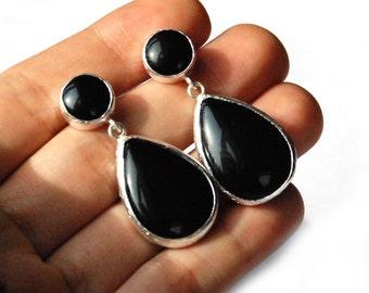 Black Onyx Drop Earrings