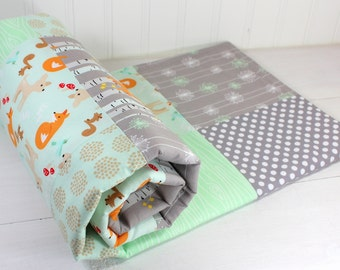 Woodland Baby Blanket, Woodland Nursery Decor, Minky Baby Blanket, Baby Quilt, Baby Shower Gift, Mint Green Gray Grey White Foxes Deer Fox