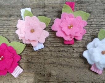 Shades of Pink Felt Flower  Hair Clip Set
