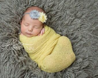 baby girl headband..yellow gray newborn headband..girl headband, toddler headband..photography prop,birthday prop