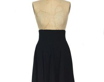 vintage 1980s OMO NORMA KAMALI skater skirt / black / high waist skirt / women's vintage skirt / tag size 8