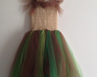 Fairy Pixy Bridesmaid DRESS russet colours and sparkles age 7 - 8