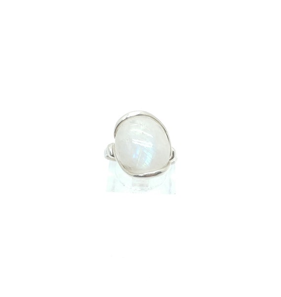 Rainbow Moonstone Ring | Sterling Silver Ring Sz 7.5 | Simple White Ring | June Birthstone Ring | Simple Stone Ring | Simple Moonstone Ring