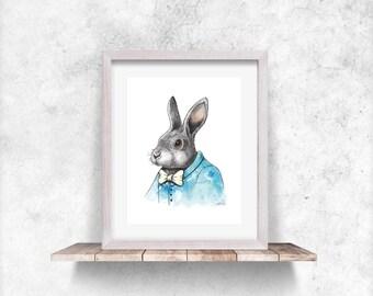 Bunny Nursery Print, Bunny Poster, Baby Rabbit Print, Baby Animal Prints, Bunny Wall Art Print