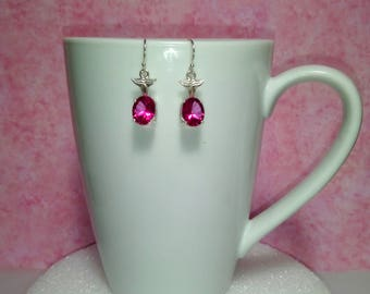 Hot Pink Topaz Dangle Earrings, Natural Topaz 10x8x5mm Ovals 5.685 Carats per pair
