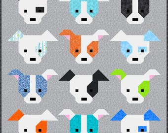 Dog Gone Cute Quilt Pattern, PDF, Instant Download, modern patchwork, dog, puppy, cute, mini and maxi quilt