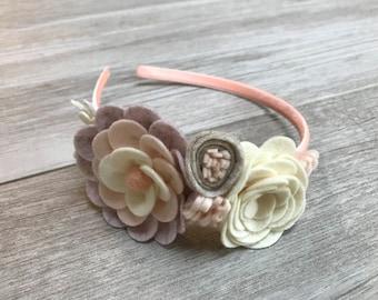 Lilac, Gray, Blush and Ivory Floral Wool Felt Headband