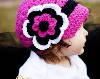 Flower Beanie with Brim - Bright Pink, Black, White