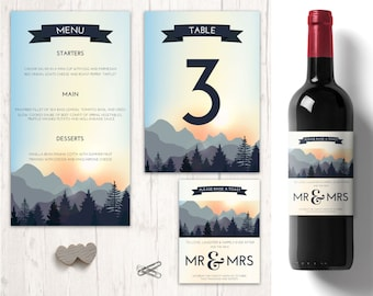 Nature Wedding table decorations, personalised wine labels wedding, forest wedding menu, Wedding Table Numbers, nature mountain wedding