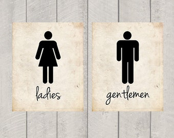 Bathroom Art - Ladies and Gentlemen Print - 5x7 or 8x10