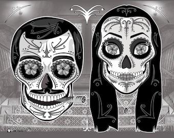 Addams Family Gomez & Morticia Sugar Skulls 11x14 print