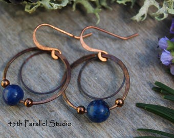 Lapis & Copper Hoop Earrings, Blue Lapis Earrings, Rustic Copper Earrings, Copper Hoop Earrings, Boho Earrings, Wire Earrings, Gift for Her