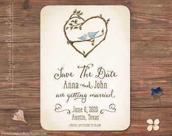 Bluebird Save The Date, Watercolor Save The Dates, Spring and Summer Wedding Save The Dates, Original Artwork, Customizable Design