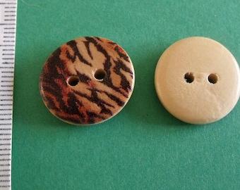 wooden buttons, set of 26, leopard print, 18mm diameter