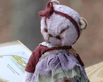 Pastel lavender blue brown Artist Plush Teddy Bear girl in dress. Collectible handmade OOAK. Plush Teddy bear, baby bear stuffed animals