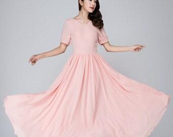 Pink dress, maxi dress, bridesmaid dress, women's dress, chiffon dress, evening dress, prom dress, swing dress, wedding dress, Handmade 1549
