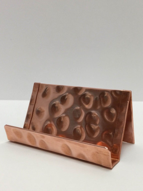 Hammered raw copper standard business card holder like this item reheart Gallery