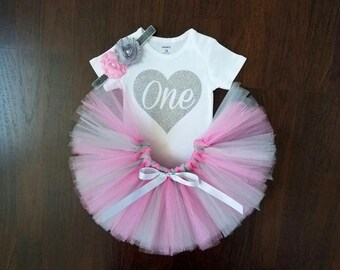 Pink and Silver 1st Birthday Tutu Outfit