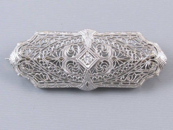 Antique Art Deco 14k white gold and platinum diamond filigree brooch pin folding bail converts to pendant