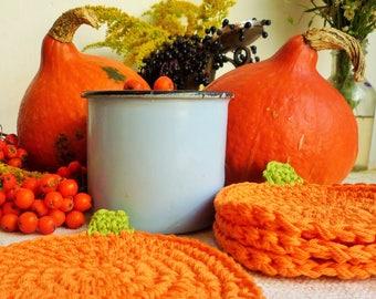 Crochet Pumpkin Coasters - Pumpkin Farmhouse Decor - Thanksgiving Table Decor - Orange Pumpkin - Autumn Kitchen Decor - Rustic Table Decor