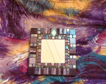 Mosaic Mirror, Accent Mirror, Wall Art, Home Decor, Purple, Lavender, Green, Iridescent