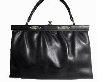 Antique Bag black leather 30s 40s vintage handbag Big dimensions sac tasche Lovely Conditions