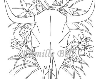Cow Skull Coloring Page Adult Download Desert Floral Theme Art