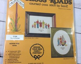 Vtg Complete Customize Unique Family Portrait Cross Stitch Kit Soo-Z CC160 14Ct