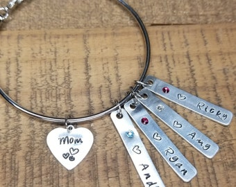 Mother's Bracelet- Personalized Hand Stamped Charm With Birthstones, Wire Bangle, Adjustable